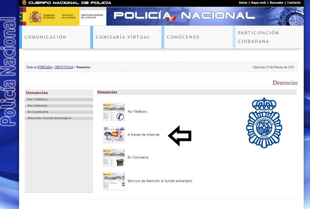 página web de la policia nacional